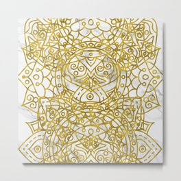 Golden Ornamental Mandala on White Marble Metal Print