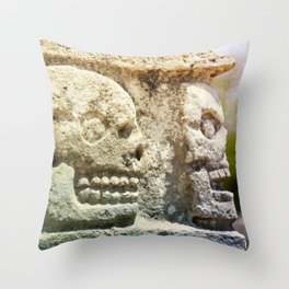 Mayan Stone Skulls Throw Pillow