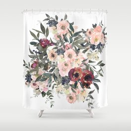 Watercolor Roses and Florals Shower Curtain
