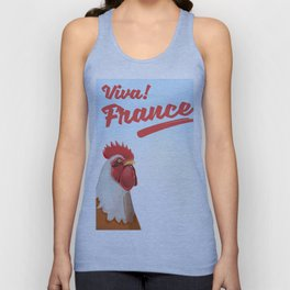 France Rooster travel poster Unisex Tank Top