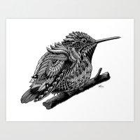 hummingbird Art Prints featuring Hummingbird by BIOWORKZ