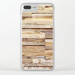 Background of old wooden pieces Clear iPhone Case
