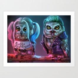 Owly Quinn and Puddin' Art Print