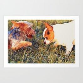 Yorkie and a Chihuahua Art Print