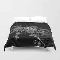 vancouver Duvet Covers featuring vancouver map canada by Line Line Lines