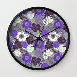 Violet Anemones in Grey Wall Clock
