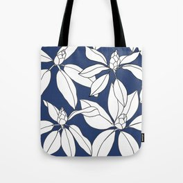 Rhododendrons Before the Bloom, Line Drawing, White Petals on Navy Blue Tote Bag