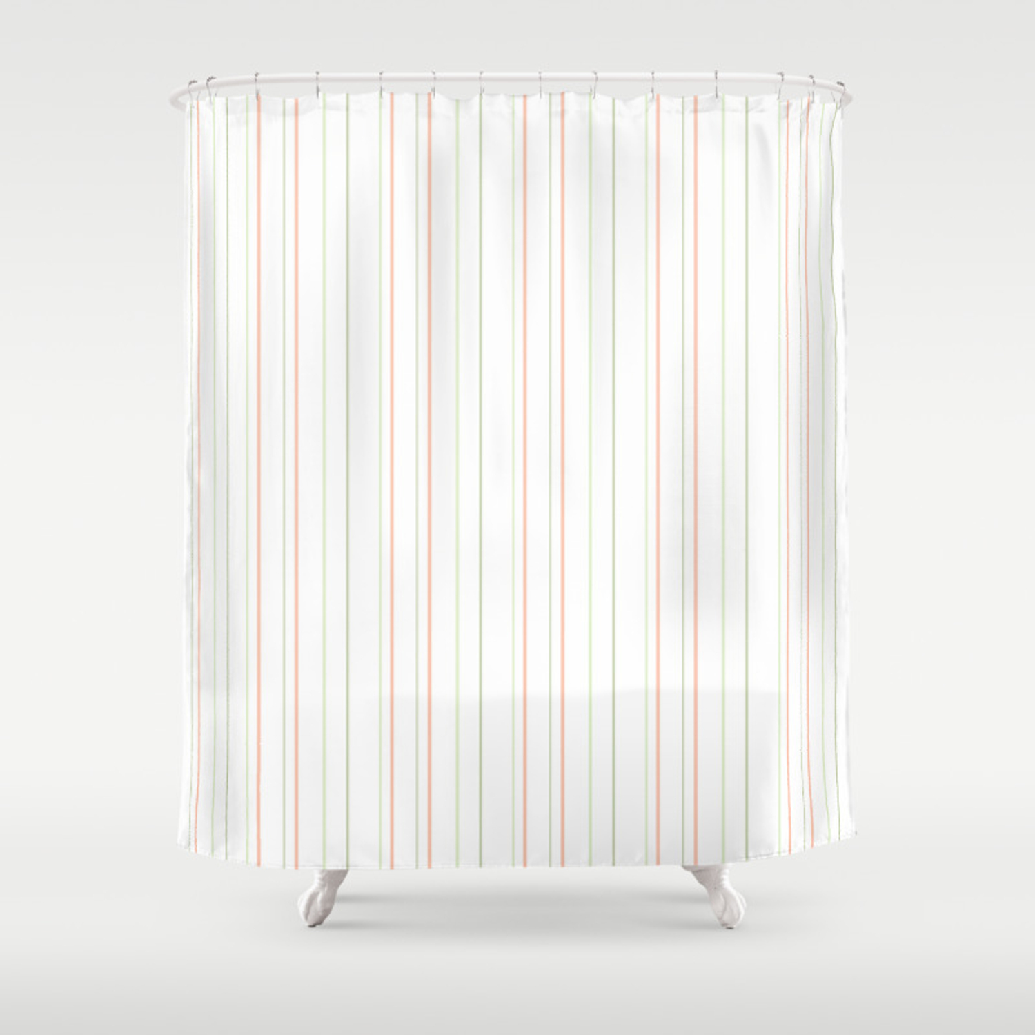 Modern Geometrical Pink Coral Green White Stripes Shower Curtain