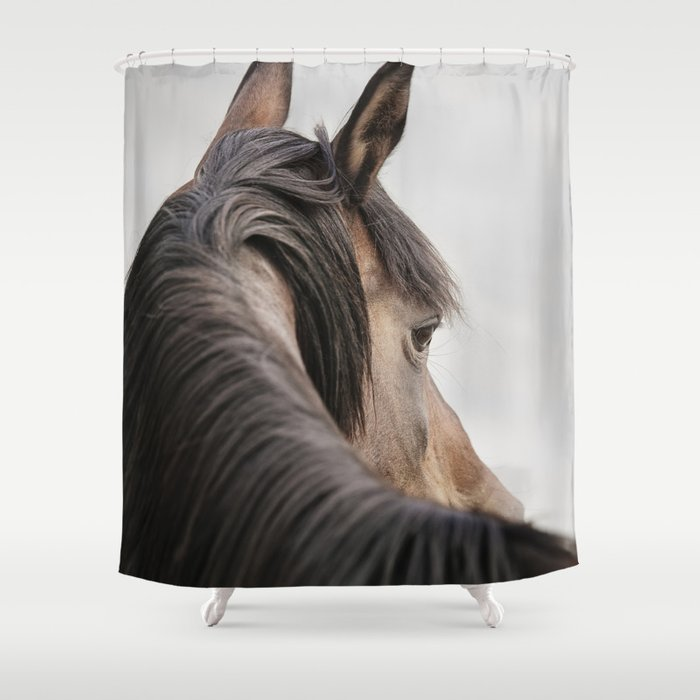 Horse Close Up Photograph Western Shower Curtain