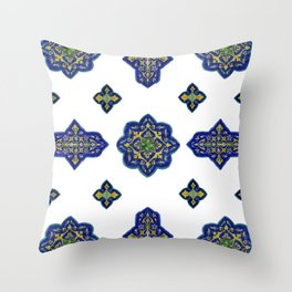 Samarkand blue and yellow ornament Throw Pillow