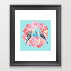 Birds of Paradise Parakeets Blue budgie Pink Peonies Flowers Wreath Framed Art Print
