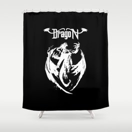 White Dragon Rising Shower Curtain