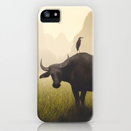 Water Buffalo And Egrets iPhone Case