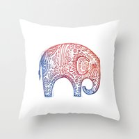 elephants Throw Pillows featuring Elephants by Alibabaform