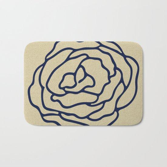 Rose Nautical Navy Blue on Linen Bath Mat