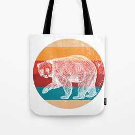 Vintage Grizzly Bears Lover Retro Style Silhouette Gift Tote Bag