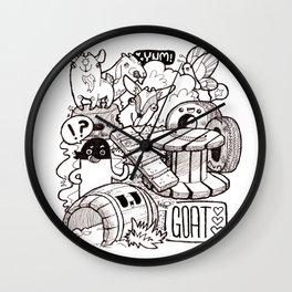 Kawaii Doodle - Goat Love Wall Clock