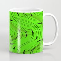 lime green Mugs featuring Lime Green by Sartoris ART