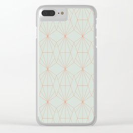 Geometry art decó in blue and orange Clear iPhone Case