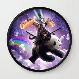 Lazer Warrior Space Cat Riding Panda With Hotdog Wall Clock