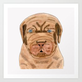 French Mastiff puppy dog watercolor art Art Print