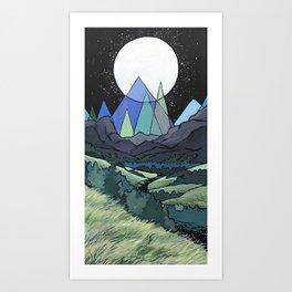 Full Moon Mountains Art Print