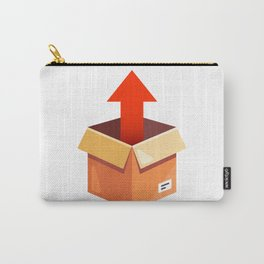Take Parcel Up From Cardboard Box Flat Illustration Isolated Carry-All Pouch