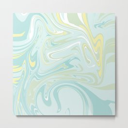 Marbling - pastel teal blue Metal Print
