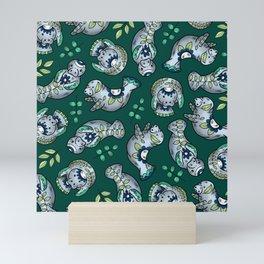 Majestic Folk Art Manatees - Pattern on Green Mini Art Print