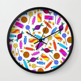 Cute Artsy Colorful Halloween Candy Watercolor Wall Clock