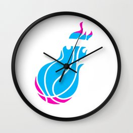 Heat Basketball Retro Neon Look Wall Clock