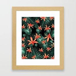 Tropical Flowers & Leaves Jungle Night #1 #tropical #decor #art #society6 Framed Art Print