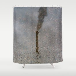 Factory Chimney  Reflection in Water Shower Curtain
