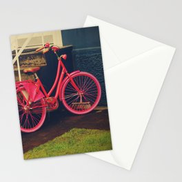 Pink bike and colorful house in Iceland, Fine Art Travel Photography Stationery Cards