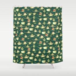FROOOOOOOOOOOOWG PATTERN dark green Shower Curtain