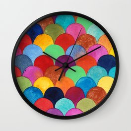 Bright and Colorful Watercolor Scales Pattern Wall Clock