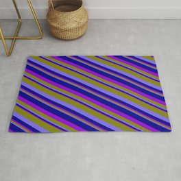 Green, Medium Slate Blue, Dark Blue, and Dark Violet Colored Pattern of Stripes Rug