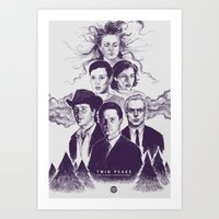 twin peaks Art Prints featuring Twin Peaks by Young Napoleon
