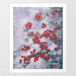 Red Berries in Snow Art Print