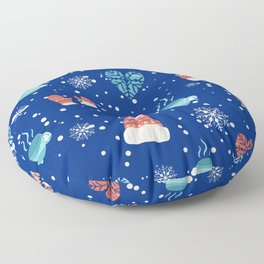 Winter Pattern Mittens Mugs Hearts Snow Flakes Floor Pillow