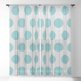 Mid Century Modern Polka Dots 559 Teal and Gray Sheer Curtain