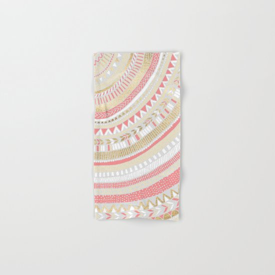 Coral + Gold Tribal Hand & Bath Towel