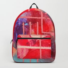 Jubilee: a vibrant abstract piece in reds and pinks Backpack