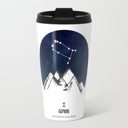Astrology Gemini Zodiac Horoscope Constellation Star Sign Watercolor Poster Wall Art Travel Mug