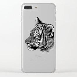 Amur tiger cub - big cat - ink illustration Clear iPhone Case