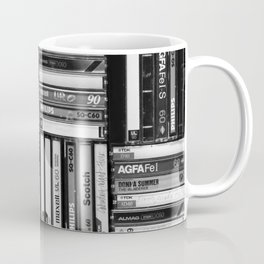 Music Cassette Stacks - Black and White - Something Nostalgic IV #decor #society6 #buyart Coffee Mug