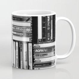 Music Cassette Stacks - Black and White - Something Nostalgic IV #decor #society6 #buyart Coffee Mug
