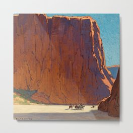 Sunset on the sandstone cliffs, Canyon de Chelly Landscape by Edgar Alwin Payne Metal Print