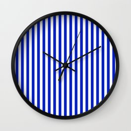 Cobalt Blue and White Vertical Deck Chair Stripe Wall Clock