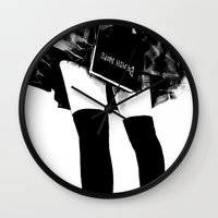 death note Wall Clocks featuring Death Note Girl by Yukikochild